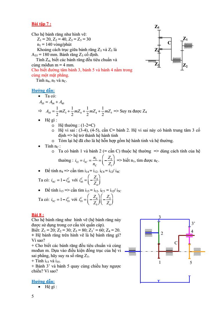 Bài tập hệ bánh răng nguyên lý máy có đáp án