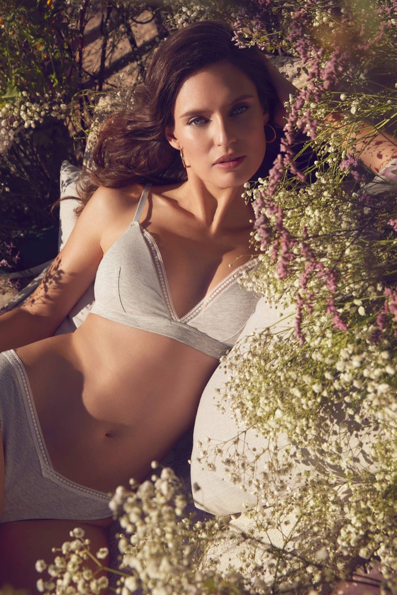 Model Bianca Balti poses in Yamamay Eco Cotton lingerie.