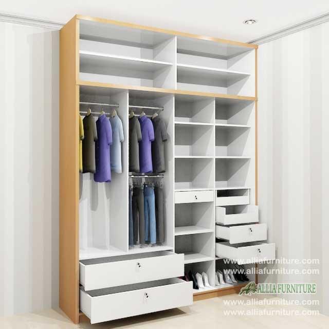 lemari pakaian minimalis 2 pintu geser f4