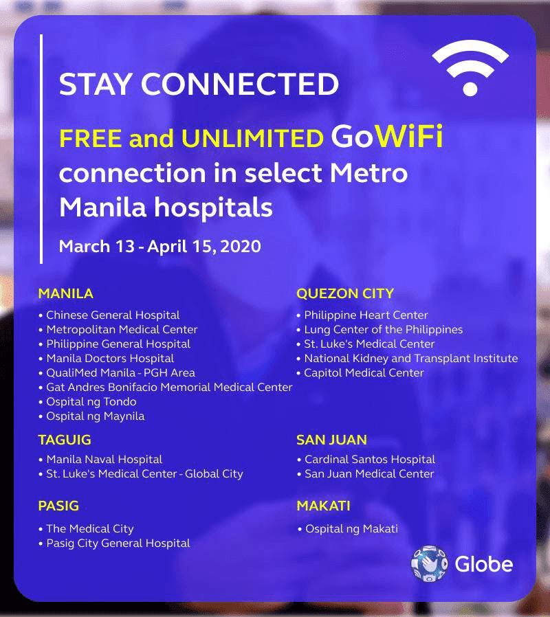 Globe provides FREE and unlimited WiFi in select hospitals
