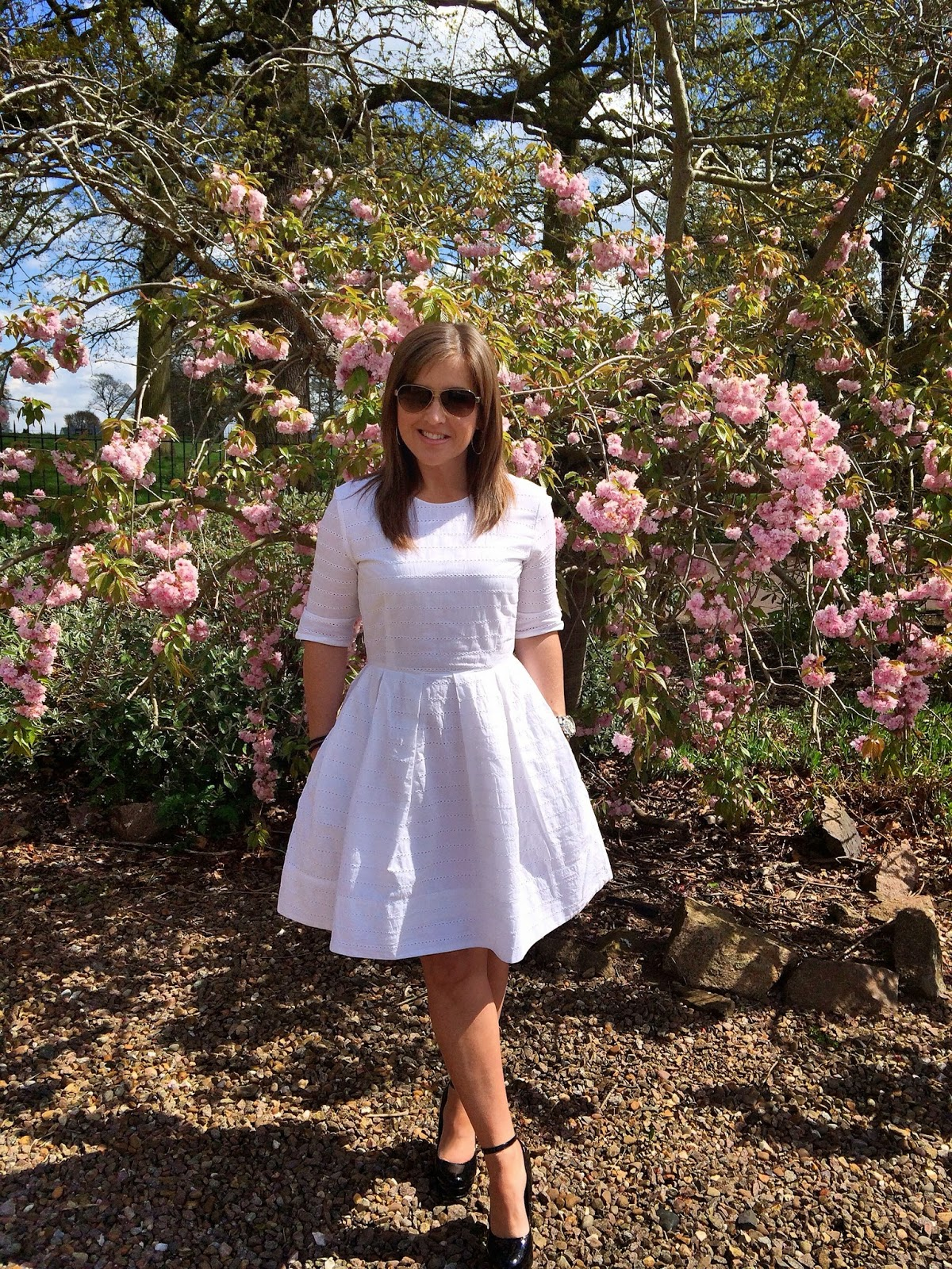 Gap eyelet fit and flare dress