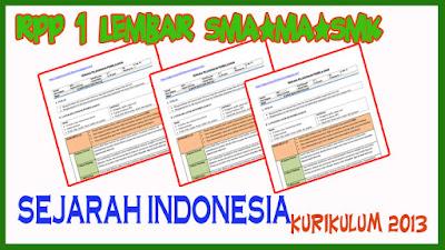 RPP 1 Lembar Sejarah Indonesia SMA Tahun Ajaran 2020 Kurikulum 2013
