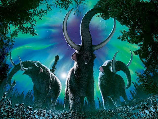 Representación artística de mastodontes. Autor  Julius Csotonyi.