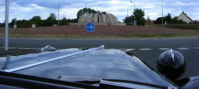 Melon slices sculpture on a roundabout, Richelieu. Indre et Loire. France. Photo by Loire Valley Time Travel.