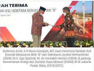 Gubernur Aceh Terima SK Asli Kontrak  Kerjsama Blok B