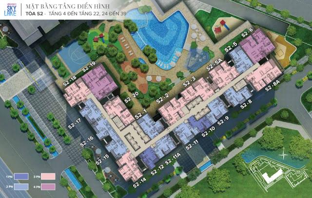 Mặt bằng tòa S2 Vinhomes Skylake - Tầng 4 đến tầng 22 - 24 đến 39