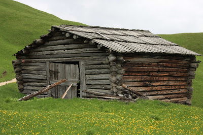 An example of the typical barn structure found in the pastures of Alta Badia and the Dolomites.