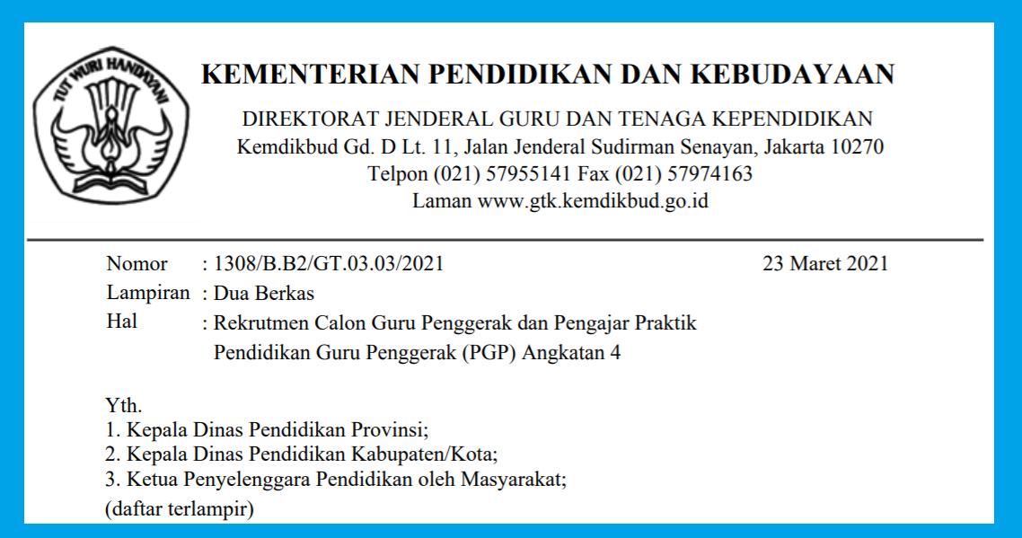 gambar jadwal pendaftaran guru penggerak angkatan 4 2021