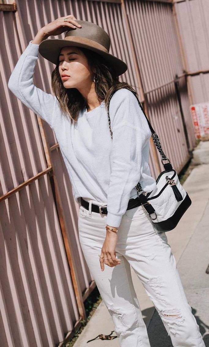 white on white | sweater + ripped jeans + hat + bag