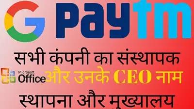 प्रमुख कंपनियों के सीईओ 2020 PDF Download || list of indian companies and their ceo 2021 pdf