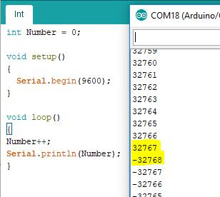 int variable in Arduino