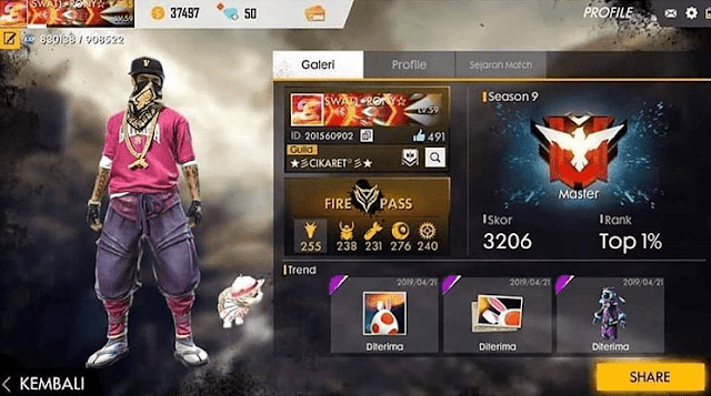 Akun FF Elite Pass Season 1 Gratis