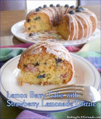 Celebrating berry season with a Lemon Berry Cake with Strawberry Lemonade Drizzle. | Recipe developed by www.BakingInATornado.com | #recipe #cake