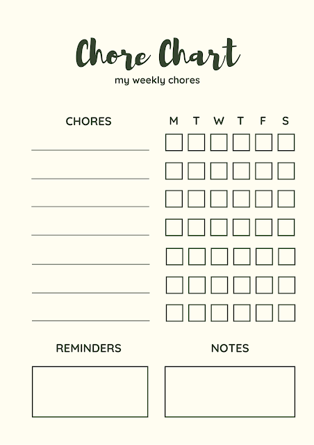 Chore chart weekly planners
