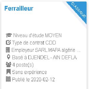 Ferrailleur Employeur : SARL MAPA algérie construction