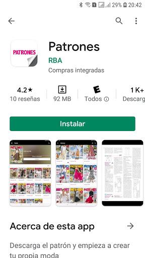 Aplicación Android revista Patrones donde puedes comprar la edición digital de la revista con sus moldes de costura en tamaño real