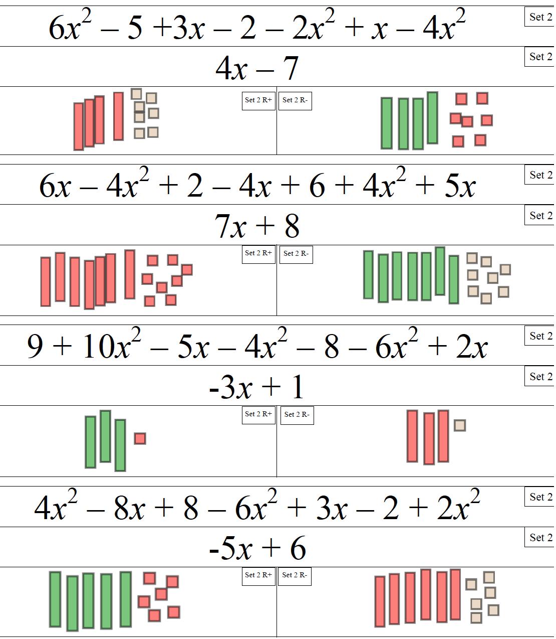 solving equations with algebra tiles tessshebaylo. Black Bedroom Furniture Sets. Home Design Ideas