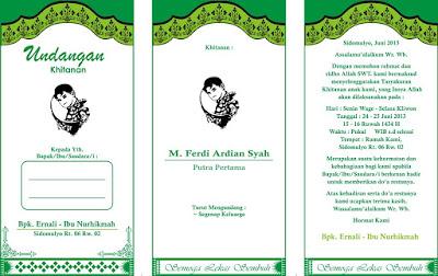 Contoh Desain Undangan Walimatul Khitan CDR Fotokopi Lipat 3