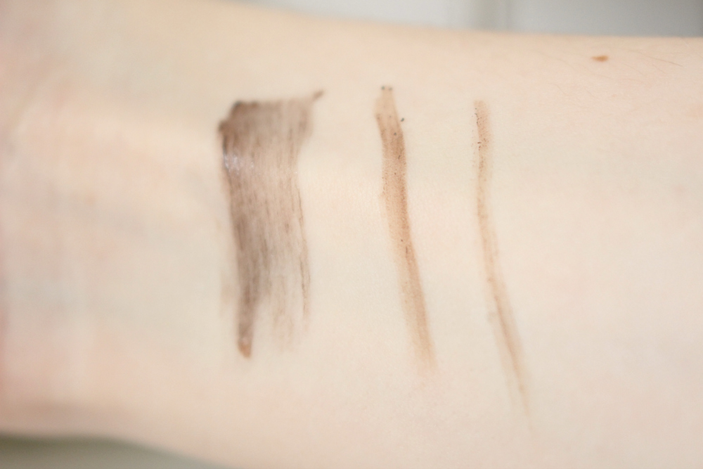 Benefit Gimmie Brow, Precisely My Brow Pencil and Goof Proof Swatches