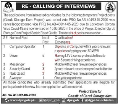 Garuk Storage Dam Project Jobs 2020
