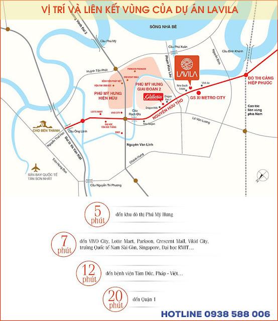 Vị trí dự án Lavila Nam Sài Gòn kết nối thuận tiện đến các khu vực lân cận.