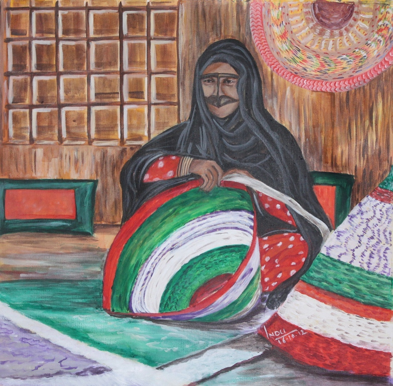 Indu S Acrylic Paintings On The Canvas Uae Traditional Weaving Work