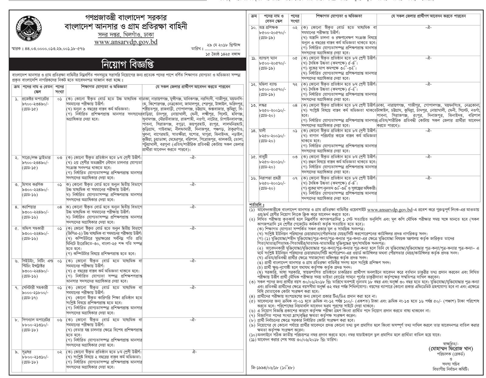 Bangladesh Ansar VDP Civilian Job Circular 2018