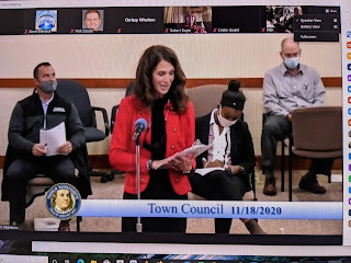 Acting Town Clerk Nancy Danello provides an update to a Town Council meeting in 2020