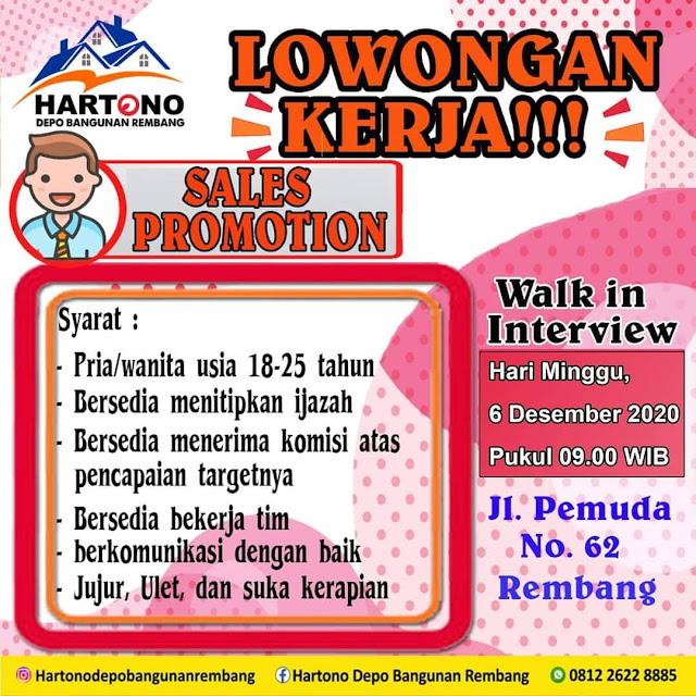 Lowongan Kerja Sales Promotion Hartono Depo Bangunan Rembang