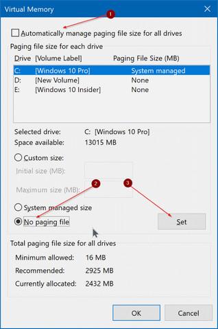 كيفية حذف ملف النظام Pagefile.sys في ويندوز 10