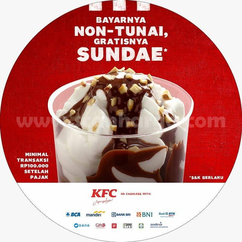 Promo KFC CASHLESS - Bayar Non Tunai Gratis Sundae Periode 15 September - 15 Oktober 2020