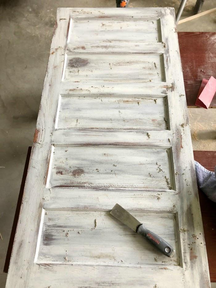 Scraping antique door