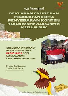 Gelar Deklarasi Virtual, FPMSI Ajak Masyarakat Apresiasi dan Dukung Pengesahan Otsus Jilid 2