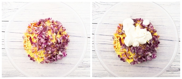 Chopped red onion added to the Vegan Cheese Savoury mixture, then mayo added