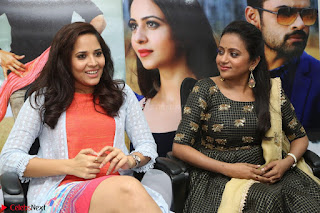 Actress Suma in Black Salwar Suit and Anusuya in orange Dress at winner movie press meet part 2 February 2017 (35).JPG