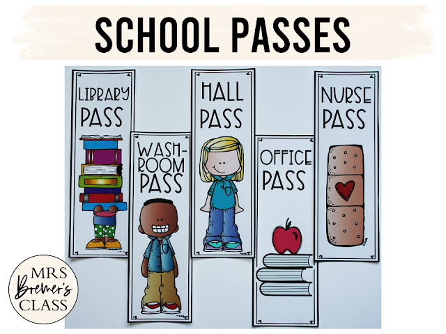School Passes help staff know who has permission to be wandering the halls :) This set includes passes for the hall, washroom, library, nurse, and office. TONS of options allow you to pick and choose which passes you'd like to use for your own class!