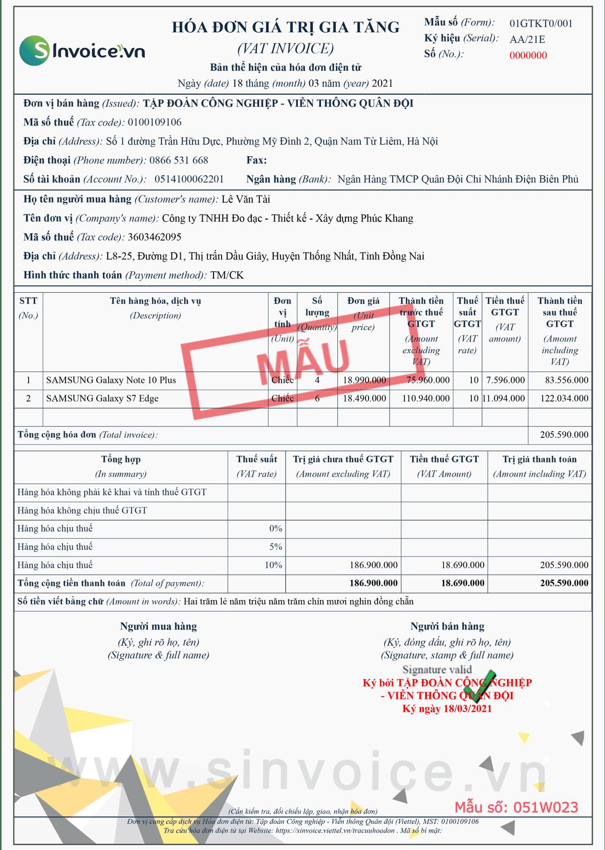 Mẫu hóa đơn điện tử số 051W023