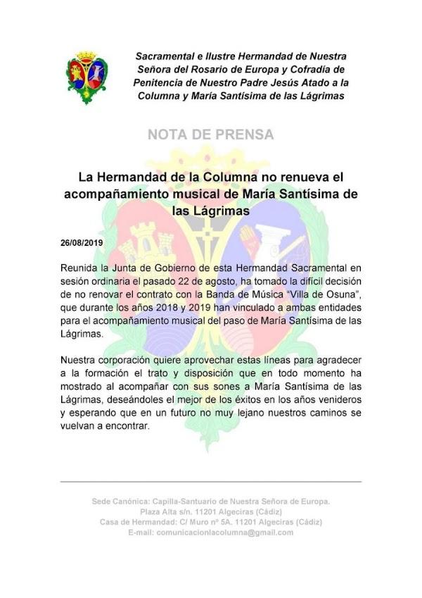 "La Banda de Música ""Villa de Osuna"" no es renovada por la Hermandad de la Columna de Algeciras"