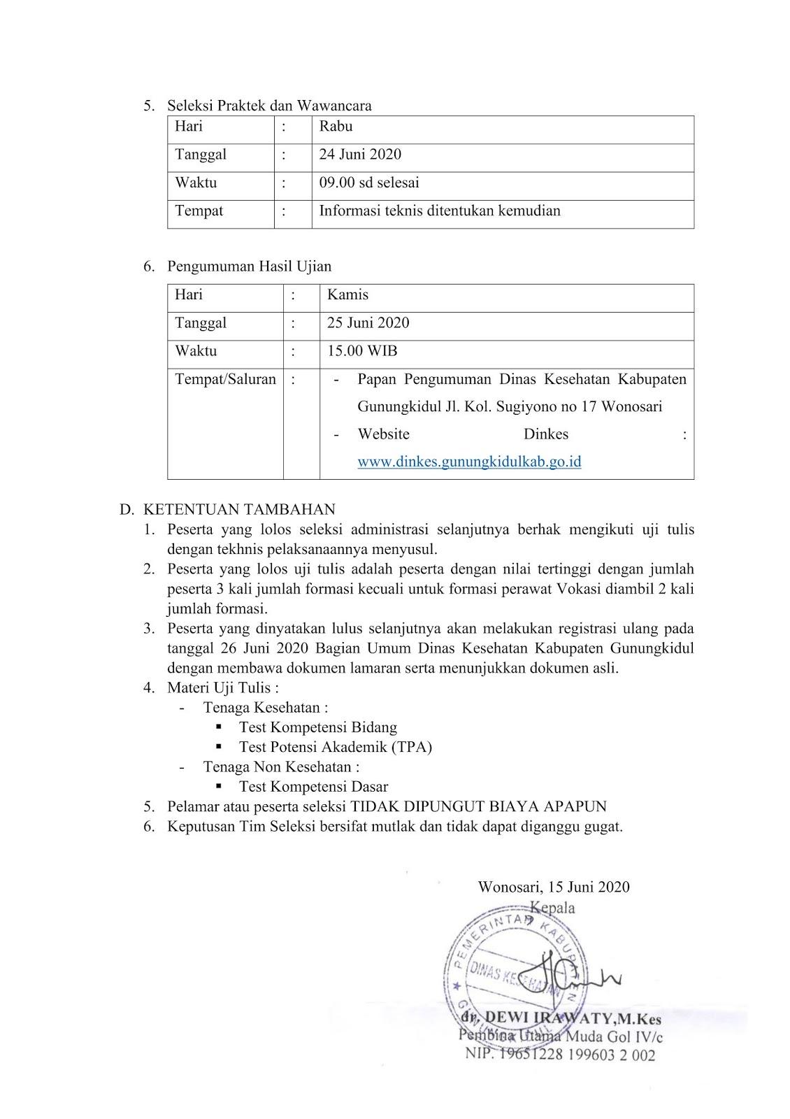 Penerimaan Pegawai Kontrak Non PNS RSUD Saptosari Dinkes Kabupaten Gunungkidul