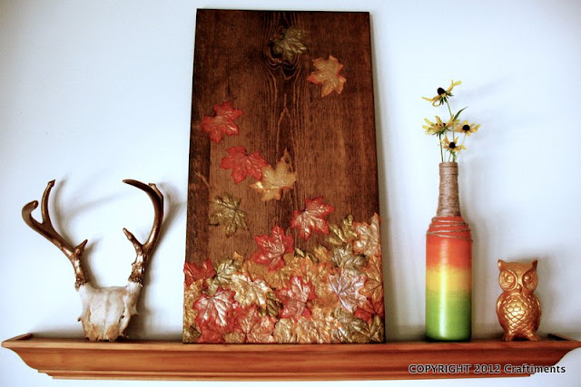Craftiments:  Falling leaves mixed media art in autumn vignette