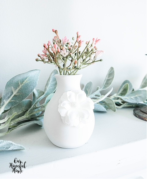 white porcelain bud vase lamb's ear garland pink flowers