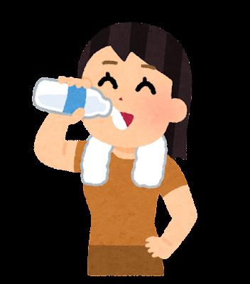 お風呂上がりに牛乳を飲む人のイラスト(女性)