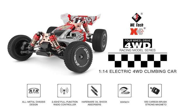 Wltoys 144001 - Um RC Car à maneira com duas baterias