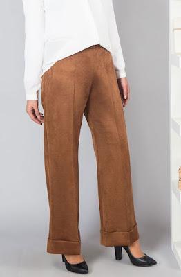 Bayan süet pantolon duble paça kahverengi