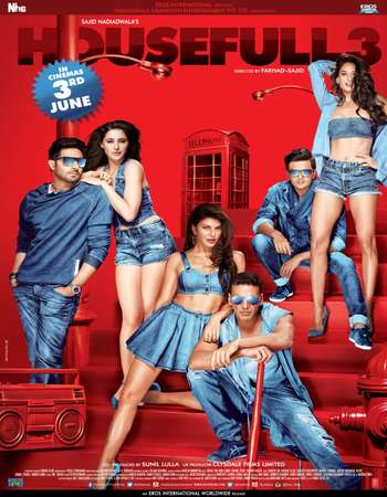 Poster Of Housefull 3 2016 Hindi 400MB DVDRip 480p ESubs Watch Online Free Download Worldfree4u