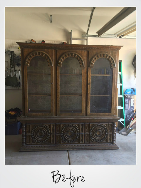 hutch makeover, painted hutch, diy, before and after, adding legs to furniture, refinished hutch