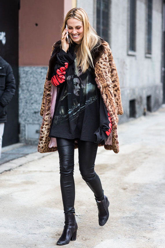 black leather and leopard animal print