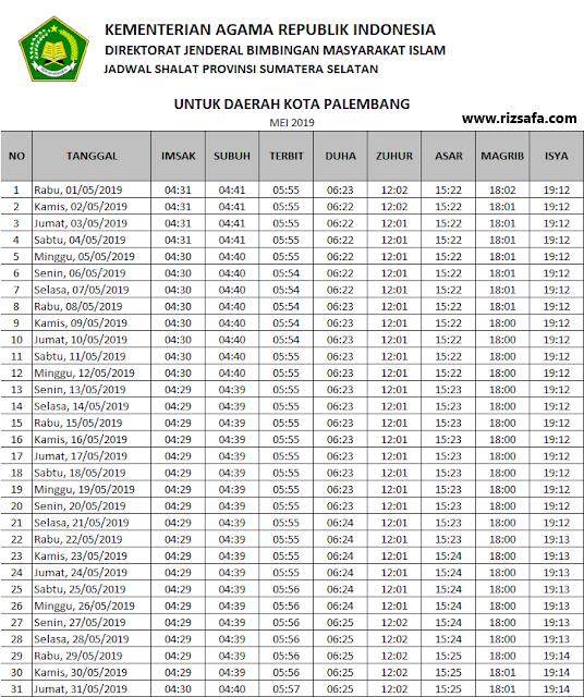 Jadwal Imsakiyah Wilayah Kota Palembang Ramadhan 1440 H ...