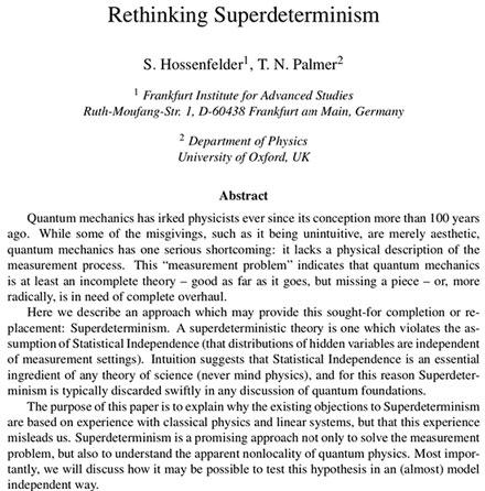 Abstract for paper explaining superedeterminism (Source: Hossenfelder & Palmer, arXiV:1912.06462v1)