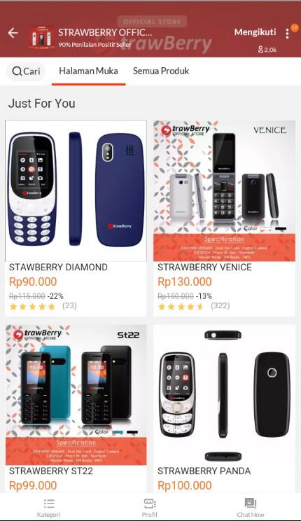 Beranda Toko Handphone Terlaris Strawberry Official Store Sell di Lazada.